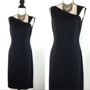 David Meister Black Knot Shoulder Sheath Dress